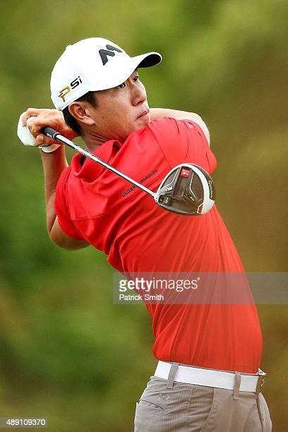 James Hahn plays his shot from the fourth tee during the Second Round of the BMW Championship at Conway Farms Golf Club on September 18 2015 in Lake...