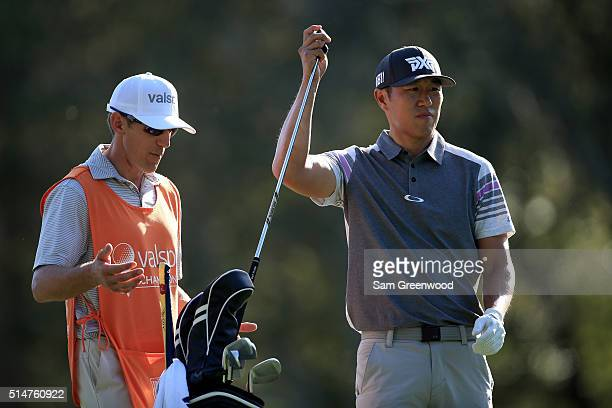James Hahn prepares to hit off the 17th tee during the first round of the Valspar Championship at Innisbrook Resort Copperhead Course on March 10...