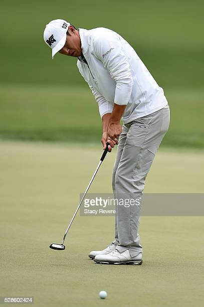 James Hahn putts for birdie on the 15th green during the second round of the Wells Fargo Championship at Quail Hollow Club on May 6 2016 in Charlotte...