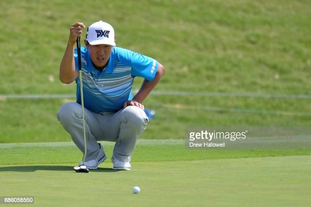 James Hahn putts the ball on the 15th green Round Three of the ATT Byron Nelson at the TPC Four Seasons Resort Las Colinas on May 20 2017 in Irving...