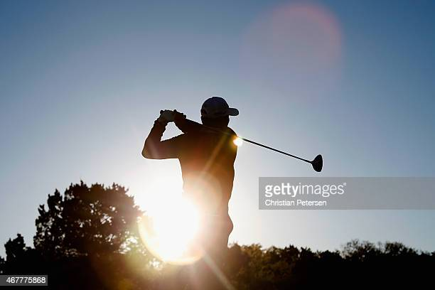 James Hahn tees off on the 11th hole during round two of the Valero Texas Open at TPC San Antonio ATT Oaks Course on March 27 2015 in San Antonio...