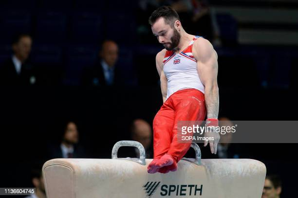 James Hall from Great Britain seen in action on the pommel horse during the Men's AllAround Final of 8th European Championships in Artistic Gymnastics