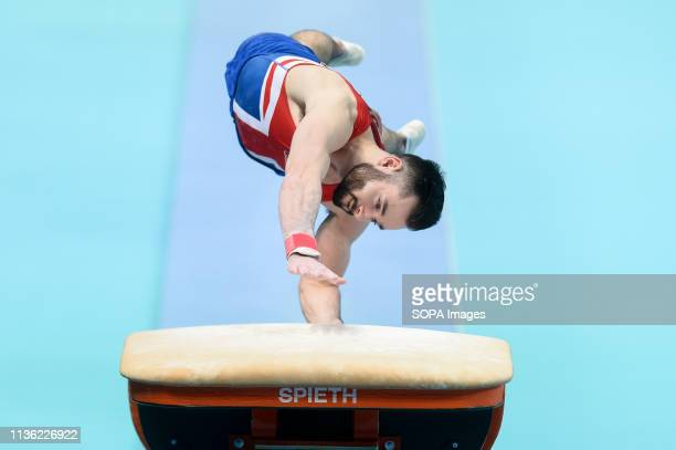 James Hall from Great Britain seen on the vault during the men qualifications of 8th European Championships in Artistic Gymnastics at the Netto Arena