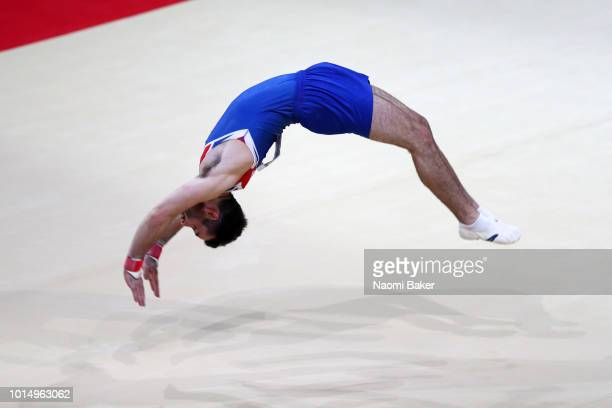 James Hall of Great Britain competes in Floor Exercise in the Men's Gymnastics Final on Day Ten of the European Championships Glasgow 2018 at The SSE...