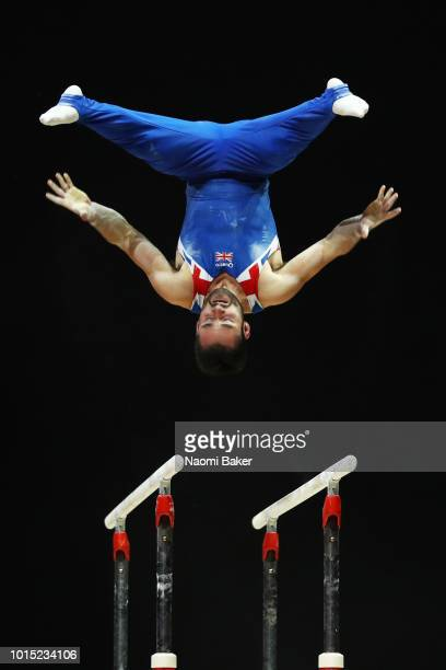 James Hall of Great Britain competes in Parallel Bars in the Men's Gymnastics Final during the Gymnastics on Day Ten of the European Championships...