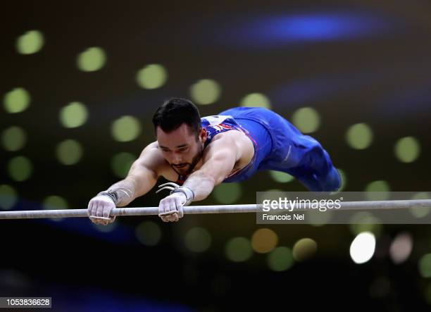 James Hall of Great Britain competes in the Men's Horizontal Bar Qualification during day two of the 2018 FIG Artistic Gymnastics Championshipsat...