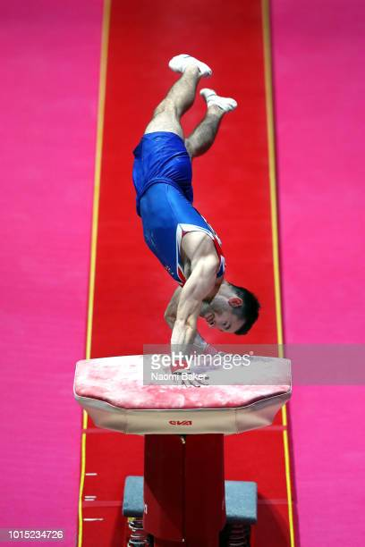 James Hall of Great Britain competes in Vault in the Men's Team Gymnastics Final during the Gymnastics on Day Ten of the European Championships...