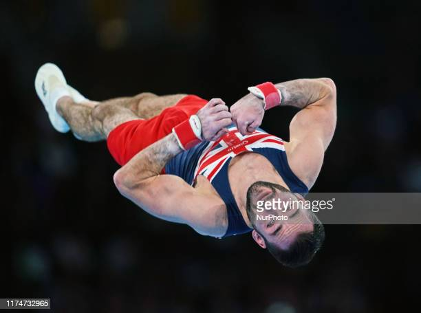 James Hall of Great Britain during floor exercise for men at the 49th FIG Artistic Gymnastics World Championships in Hanns Martin Schleyer Halle in...