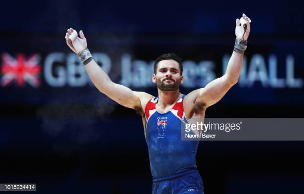 James Hall of Great Britain reacts after competing in Horizontal Bar in the Men's Team Gymnastics Final during the Gymnastics on Day Ten of the...