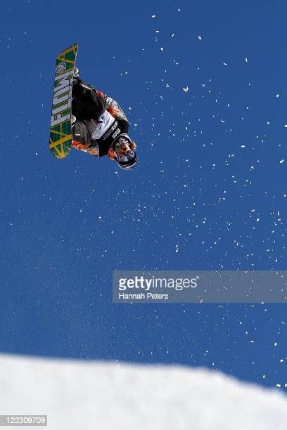 James Hamilton of NEw Zealand competes in the Snowboard Half Pipe Semi Finals on day 16 of the Winter Games NZ at Cardrona Alpine Resort on August...