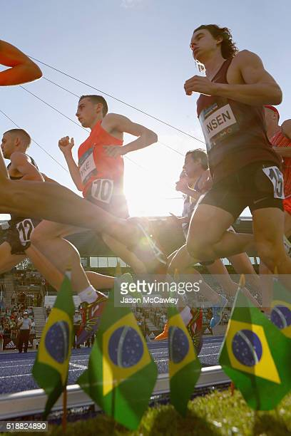James Hansen of Tasmania competes in the mens 1500m final during the Australian Athletics Championships at Sydney Olympic Park on April 3 2016 in...