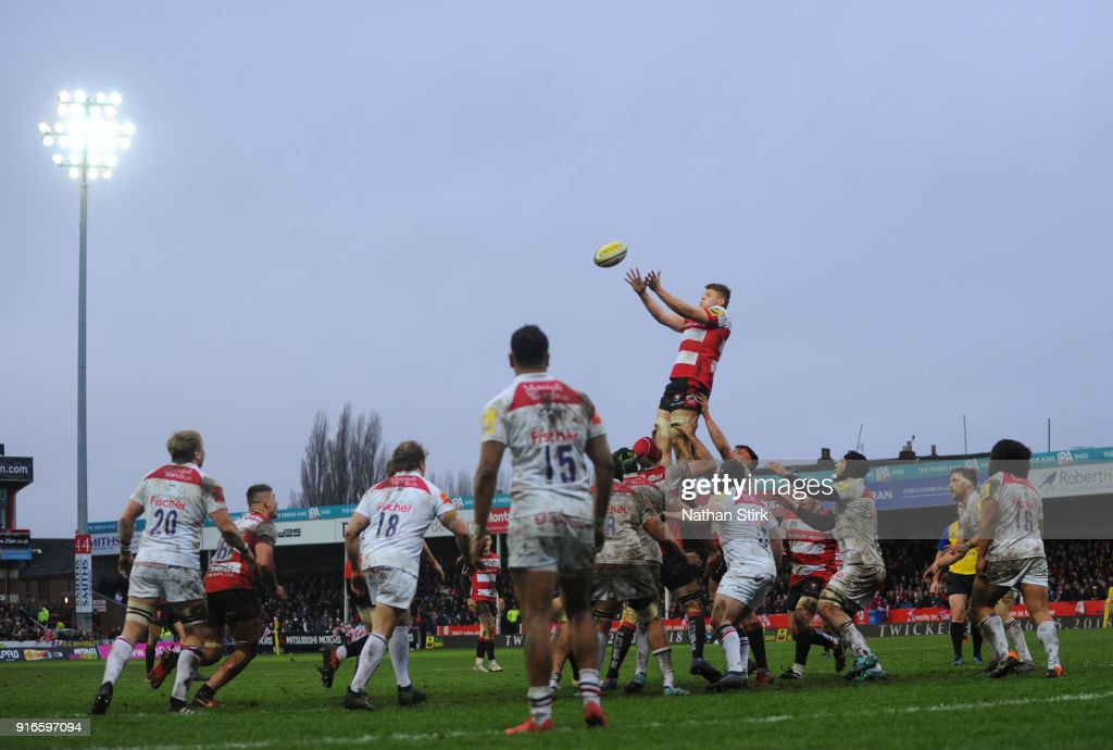 James Hanson of Gloucester Rugby catches the ball from a line out during the Aviva Premiership match between Gloucester Rugby and Leicester Tigers at Kingsholm Stadium on February 10, 2018 in Gloucester, England.