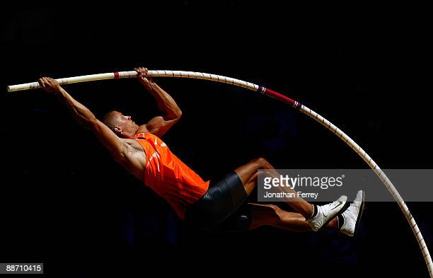 James Hardee competes in the pole vault during the decathlon competiton during day 2 of the USA Track and Field National Championships on June 26,...