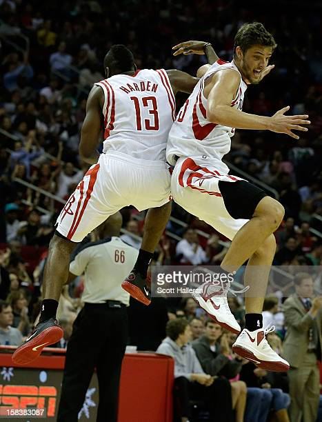 James Harden and Chandler Parsons of the Houston Rockets celebrate after a play against the Boston Celtics at the Toyota Center on December 14 2012...