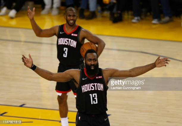 James Harden and Chris Paul of the Houston Rockets react to a call by the referee during Game Five of the Western Conference Semifinals of the 2019...