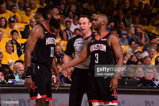 James Harden and Chris Paul of the Houston Rockets talks during Game One of the Western Conference Semifinals of the 2019 NBA Playoffs against the...
