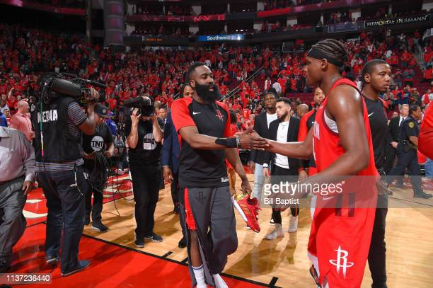 James Harden and Danuel House Jr #4 of the Houston Rockets shake hands after Game One of Round One of the 2019 NBA Playoffs against the Utah Jazz on...
