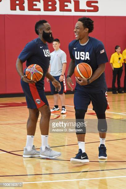 James Harden and DeMar DeRozan smile and laugh during USAB Minicamp Practice at Mendenhall Center on the University of Nevada Las Vegas campus on...
