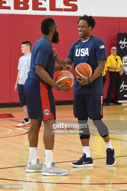 James Harden and DeMar DeRozan talk during USAB Minicamp Practice at Mendenhall Center on the University of Nevada Las Vegas campus on July 26 2018...