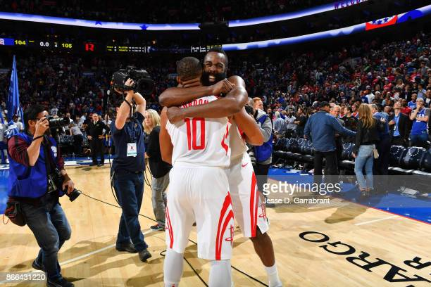 James Harden and Eric Gordon of the Houston Rockets celebrate after the win against the Philadelphia 76ers October 25 2017 at Wells Fargo Center in...