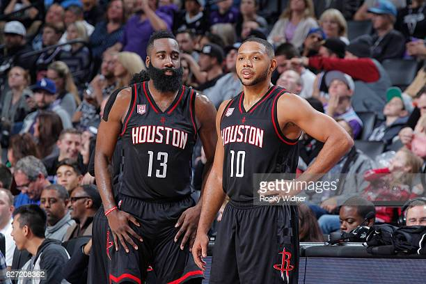 James Harden and Eric Gordon of the Houston Rockets face off against the Sacramento Kings on November 25 2016 at Golden 1 Center in Sacramento...
