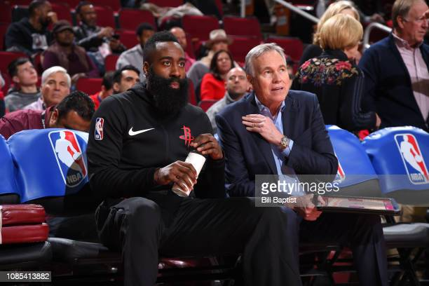 James Harden and Head Coach Mike D'Antoni of the Houston Rockets look on before the game against the Los Angeles Lakers on January 19 2019 at the...