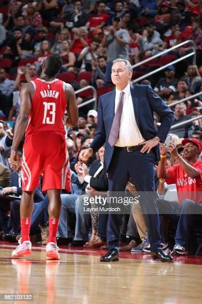 James Harden and Head Coach Mike D'Antoni of the Houston Rockets looks on during the game against the Utah Jazz on November 5 2017 at the Toyota...