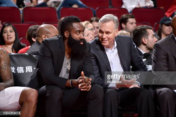 James Harden and Head Coach Mike D'Antoni of the Houston Rockets talk during the game against the LA Clippers on October 26 2018 at the Toyota Center...