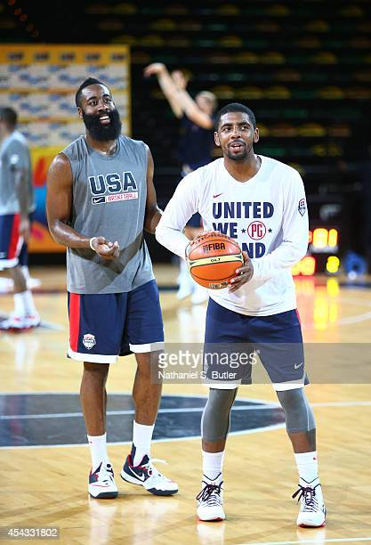 James Harden and Kyrie Irving of the USA Basketball Men's National Team during a practice for the FIBA World Cup at Bilbao Arena on August 29, 2014...