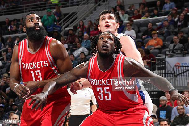 James Harden and Montrezl Harrell of the Houston Rockets during the game against the Detroit Pistons on November 30 2015 at The Palace of Auburn...