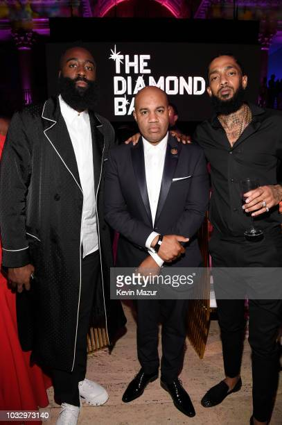 James Harden and Nipsey Hussle attend Rihanna's 4th Annual Diamond Ball benefitting The Clara Lionel Foundation at Cipriani Wall Street on September...