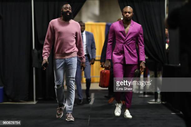 James Harden and PJ Tucker of the Houston Rockets arrive for Game Three of the Western Conference Finals of the 2018 NBA Playoffs against the Golden...
