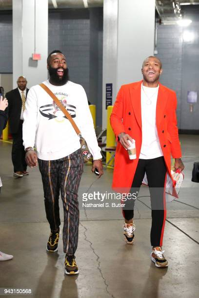 James Harden and PJ Tucker of the Houston Rockets enters the arena before the game against the Oklahoma City Thunder on April 7 2018 at the Toyota...