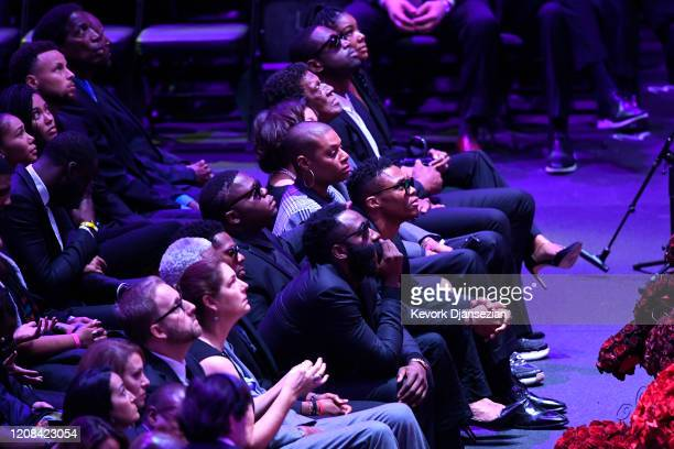 James Harden and Russell Westbrook attend The Celebration of Life for Kobe Gianna Bryant at Staples Center on February 24 2020 in Los Angeles...