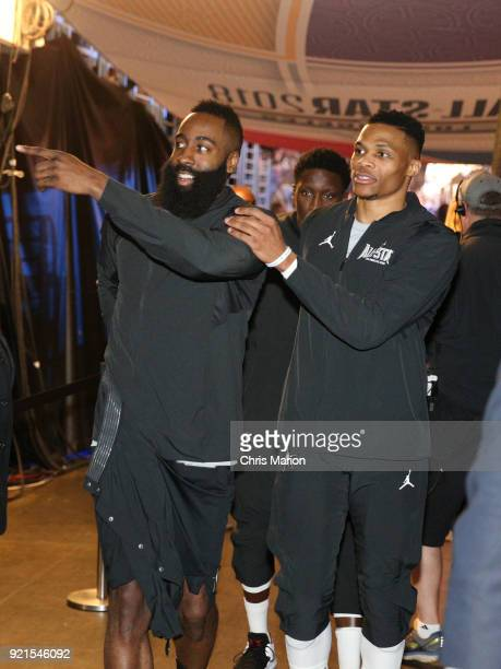 James Harden and Russell Westbrook of team LeBron walk into the arena during the NBA AllStar Game as a part of 2018 NBA AllStar Weekend at STAPLES...