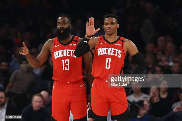 James Harden and Russell Westbrook of the Houston Rockets in action against the New York Knicks at Madison Square Garden on March 02, 2020 in New...