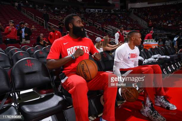 James Harden and Russell Westbrook of the Houston Rockets prepare prior to a preseason game against the San Antonio Spurs on October 16 2019 at the...