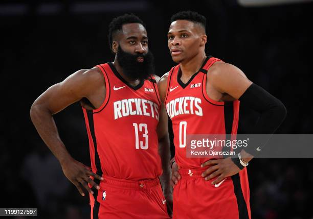 James Harden and Russell Westbrook of the Houston Rockets talk during the first half against Los Angeles Lakers at Staples Center on February 6 2020...