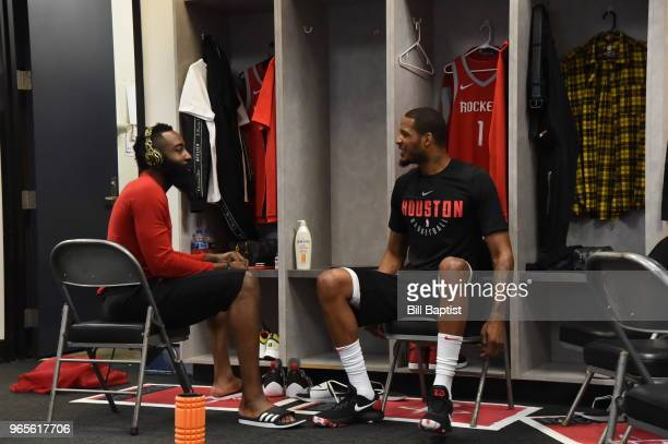 James Harden and Trevor Ariza of the Houston Rockets looks on prior to Game Six of the Western Conference Finals during the 2018 NBA Playoffs against...