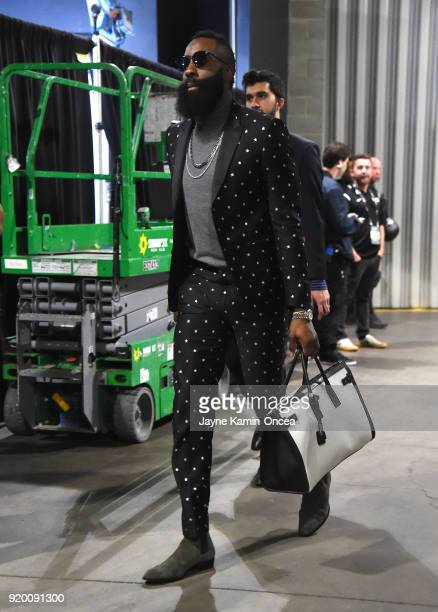 James Harden arrives to the NBA All-Star Game 2018 at Staples Center on February 18, 2018 in Los Angeles, California.