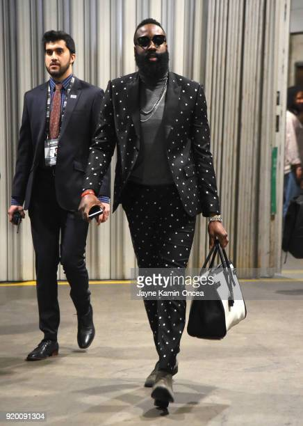 James Harden arrives to the NBA AllStar Game 2018 at Staples Center on February 18 2018 in Los Angeles California