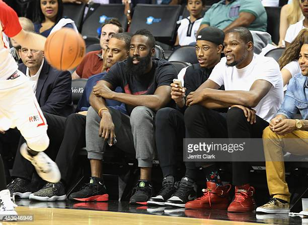 James Harden DeMar DeRozan and Kevin Durant attend the 2014 Summer Classic Charity Basketball Game at Barclays Center on August 21 2014 in New York...