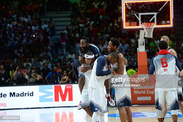 James Harden, DeMarcus Cousins, Kyrie Irving and DeMar Derozan of the USA Men's National Team celebrates after defeating the Serbia National Team...