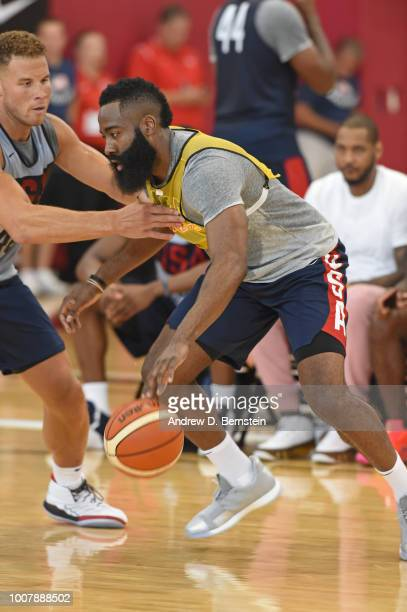 James Harden dribbles the ball during USAB Minicamp at Mendenhall Center on the University of Nevada Las Vegas campus on July 27 2018 in Las Vegas...