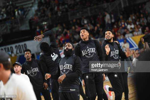 James Harden KarlAnthony Towns and Giannis Antetokounmpo of team Stephen participates in the 2018 NBA All Star Practice as part of 2018 AllStar...