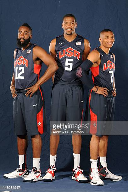 James Harden Kevin Durant and Russell Westbrook of the USA Men's National Team pose for a portrait during training camp on July 9 2012 in Las Vegas...