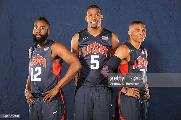James Harden Kevin Durant and Russell Westbrook of the USA Men's National Team poses for a portrait during training camp on July 9 2012 in Las Vegas...