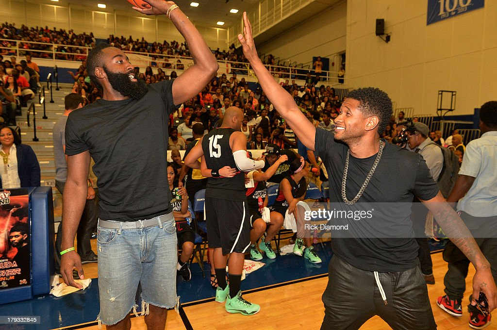 James Harden NBA Houston Rockets and Usher during Neuro Drinks At LudaDay Weekend Celebrity Basketball Game at GSU Sports Arena on September 1, 2013 in Atlanta, Georgia.