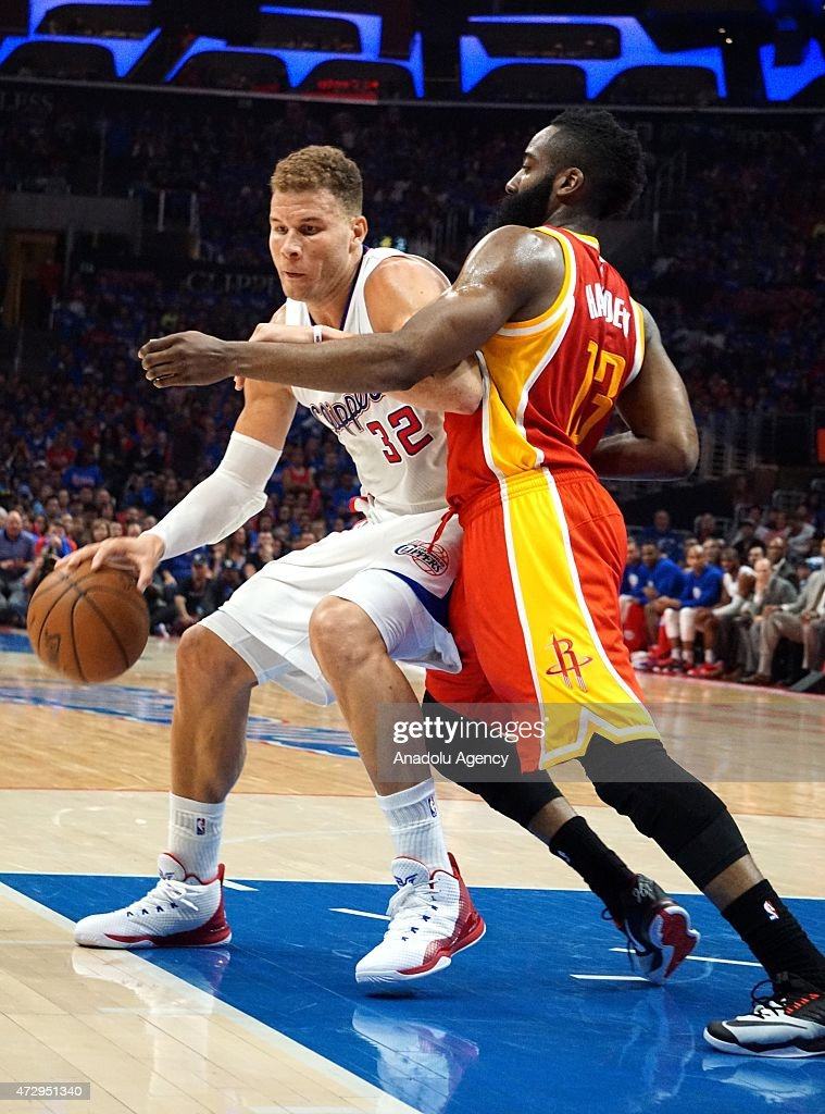 James Harden of Houston Rockets (R) and Blake Griffin of Clippers (L) in action during the NBA playoff game between Houston Rockets and Los Angeles Clippers at the Stapless Center, Los Angeles on May 10, 2015.