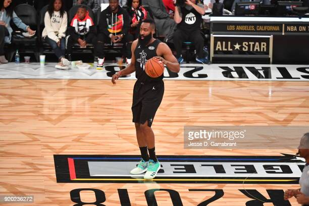 James Harden of Team Curry dribbles up court against Team LeBron during the NBA AllStar Game as a part of 2018 NBA AllStar Weekend at STAPLES Center...